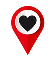 map pointer with a heart icon vector image vector image