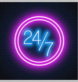neon 24 7 open sign brick wall vector image