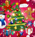 New year pattern with snowman Christmas tree toy vector image vector image