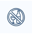 No alcohol sign sketch icon vector image vector image