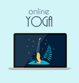 online yoga concept with laptop vector image vector image