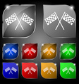 Race Flag Finish icon sign Set of ten colorful vector image