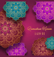 ramadan kareem greeting card with colorful arabic vector image vector image