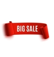 Red realistic detailed curved paper sale banner vector image vector image