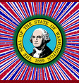 red white and blue rays with washington state icon vector image vector image