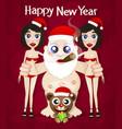 santa claus and girls vector image vector image