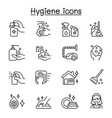 set hygiene related line icons contains vector image vector image