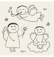 set of doodle hand drawn christmas cartoon vector image vector image