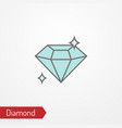 shining diamond with sparkles flat icon vector image vector image