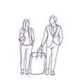 silhouette couple of business people travel vector image vector image