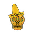skull in hat day of the dead mexican celebration vector image