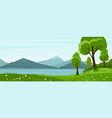 summer landscape with trees and lake and mountain vector image vector image