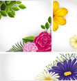 three background template with colorful flowers vector image vector image
