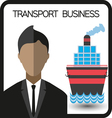 Transport business with a person and a ship flat d vector image