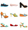 woman shoes set colorful shoes in cartoon style vector image vector image