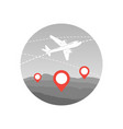 world travel plane icon airplane fly over map vector image vector image