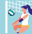 young woman practicing volleyball isolated icon vector image vector image