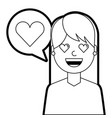 young woman with love heart in speech bubble vector image vector image
