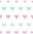 Colorful polka dot textile hearts seamless pattern vector image