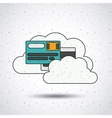 credit card with clouds isolated icon design vector image