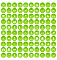 100 bbq icons set green circle vector image vector image