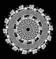 black and white round floral greek mandala vector image vector image