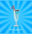 blue lagoon drink with two straws cocktail mint vector image vector image