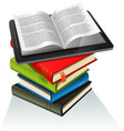 book stack and tablet pc vector image vector image