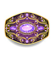 brooch pendant with and precious stones filigree vector image vector image