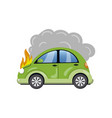 Burning car auto fire breakdown cartoon