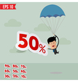 Business man drop down with parachute and percent vector image vector image