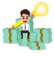businessman handle pencil lightbulb and sitting on vector image