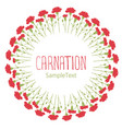 carnations wreath circle text hand drawn isolated vector image vector image