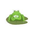 cartoon cute green frog character with flower vector image vector image
