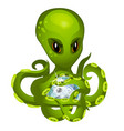 cartoon green alien octopus holding in tentacles vector image vector image