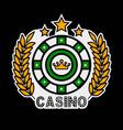 casino poker logo template gambling roulette vector image vector image