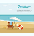 chaise lounge and umbrella on the beach vector image vector image