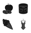 cooking dessert and other web icon in black style vector image vector image