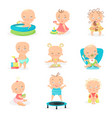 cute little babies and their daily routine set vector image