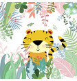 cute tiger in sweet tropical forest cartoon vector image vector image