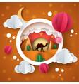 desert landscape cartoon paper illustration camel vector image