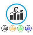 euro business bar chart rounded icon vector image vector image
