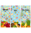 farm fresh fruit vertical flyers set vector image