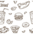 fast food burgers and soda drinks seamless pattern vector image