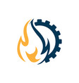 flame and gear combination industrial logo vector image vector image