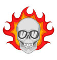 flaming skull icon cartoon style vector image vector image