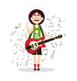 funky man playing on retro guitar with notes on vector image