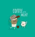 funny image glass coffee with milk and coffee vector image vector image