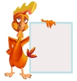 Funny red rooster holding white sheet Cock symbol vector image vector image