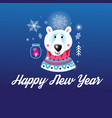 greeting christmas card with a picture bear vector image vector image